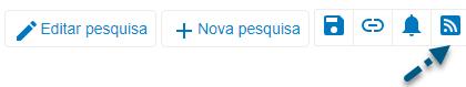 """Captura de tela do PsycNET mostrando uma seta apontando para o ícone """"Obter feed RSS"""""""