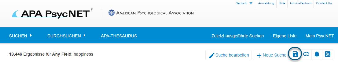 """Screenshot der Suchergebnisseite von PsycNET mit eingekreistem Symbol """"Suche speichern"""""""