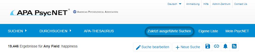 """Screenshot der Suchergebnisseite von PsycNET mit eingekreistem Symbol """"Zuletzt ausgeführte Suchen"""""""