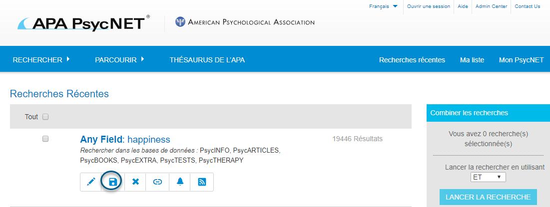 Capture d'écran de la section Recherches récentes de PsycNET avec l'icône Enregistrer entourée