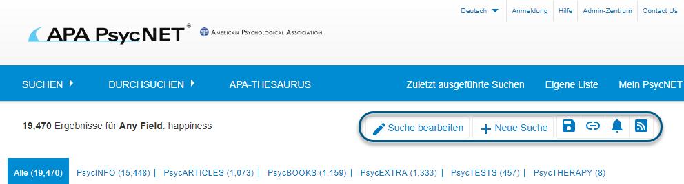 """Screenshot von PsycNET mit eingekreisten Links """"Suche bearbeiten"""" und """"Neue Suche"""" und Symbolen """"Suche speichern"""", """"Permalink erhalten"""", """"E-Mail-Alert einrichten"""" und """"RSS-Feed erhalten"""""""