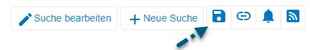 """Screenshot von PsycNET mit Pfeil, der auf das Symbol """"Suche speichern"""" zeigt"""