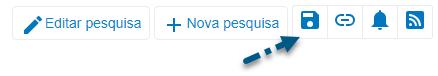 """Captura de tela do PsycNET mostrando uma seta apontando para o ícone """"Salvar pesquisa"""""""