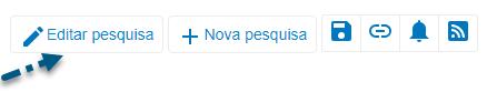 Captura da tela do PsycNET mostrando uma seta apontando para o link de editar pesquisa
