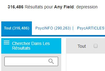 Capture d'écran montrant le champ Recherche dans les résultats sur PsycNET