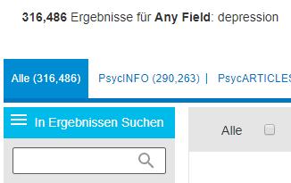 """Screenshot des Felds """"In Ergebnissen suchen"""" in PsycNET"""