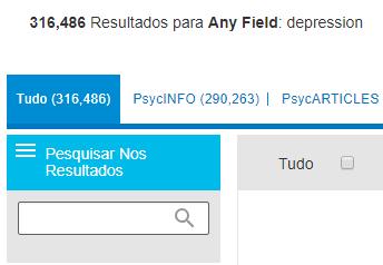 """Captura de tela mostrando o campo de """"Pesquisar nos resultados"""" do PsycNET"""