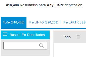 Captura de pantalla del campo PsycNET: Buscar en resultados