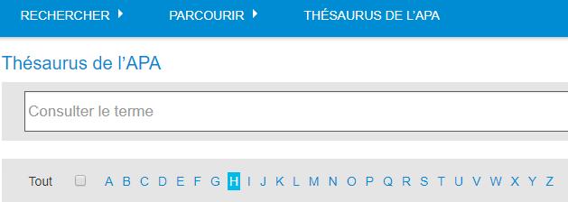 Capture d'écran du champ de recherche Consulter le terme et de la bande alphabétique du localisateur de termes du Thésaurus de l'APA