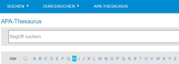 """Screenshot der Begriffsuche im APA-Thesaurus, Feld """"Begriff suchen"""" und Alphabetstreifen"""