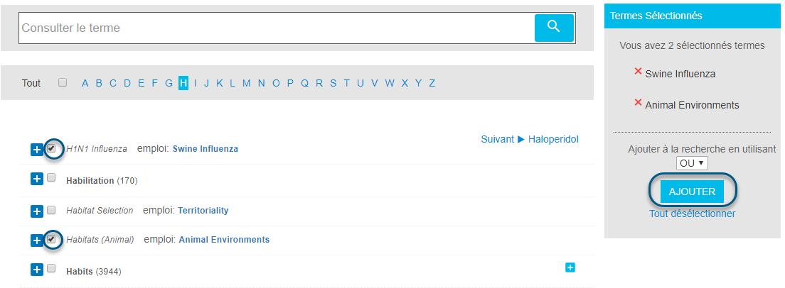 Capture d'écran du localisateur de termes avec deux termes cochés et le bouton Ajouter entouré
