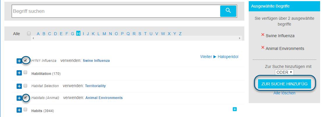 """Screenshot der Begriffsuche mit zwei ausgewählten Begriffen und eingekreister Schaltfläche """"Zur Suche hinzufügen"""""""