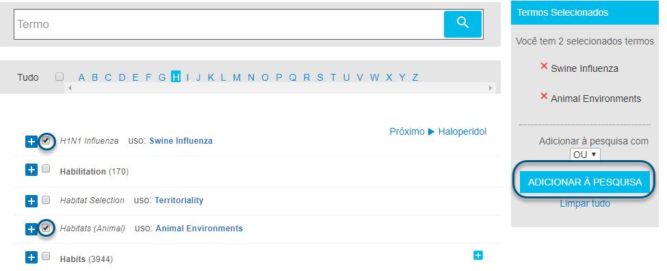 Captura de tela da pesquisa de termos com dois termos marcados e o botão de adicionar à pesquisa circulado