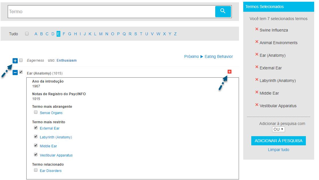 Captura de tela do localizador de termos com a seta apontando para o sinal de + à esquerda para adicionar termo e todos os termos mais restritos para a pesquisa