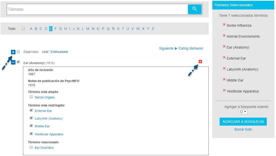 Captura de pantalla de Buscar términos con una flecha apuntando al signo más izquierdo de cambio y al signo más derecho para agregar un término y todos los términos más restringidos para buscar