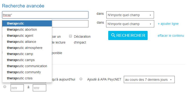 Capture d'écran d'une requête avec le terme therap* entré dans le champ de recherche de la section Recherche avancée de PsycNET et produisant des résultats «avec joker»