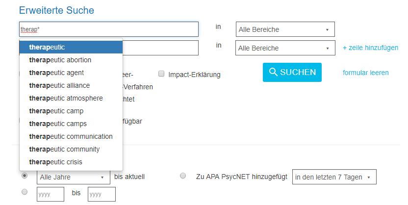 """Screenshot einer in das Feld """"Erweiterte Suche"""" in PsycNET eingegebenen Suchanfrage für """"therap*"""" mit Ergebnissen der Platzhaltersuche"""