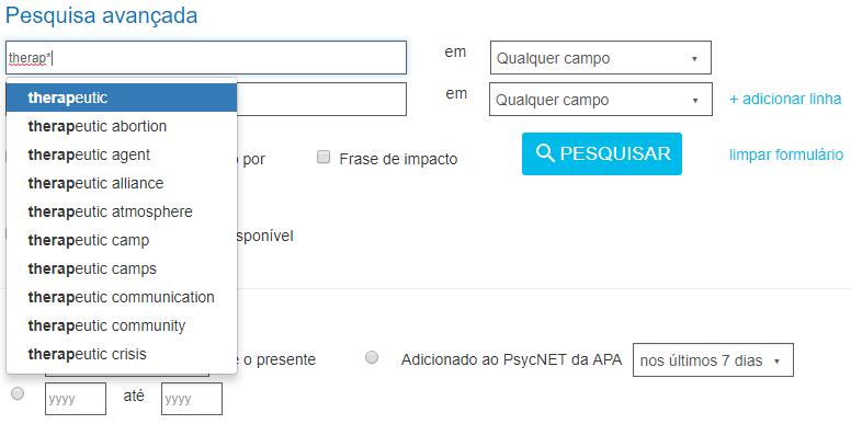 Captura de tela mostrando o termo terap* inserido no campo de pesquisa avançada do PsycNET e produzindo resultados coringa.