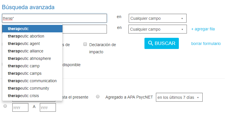 Captura de pantalla que muestra una búsqueda de terap* introducida en el campo de entrada de Búsqueda avanzada de PsycNET, produciendo resultados comodín