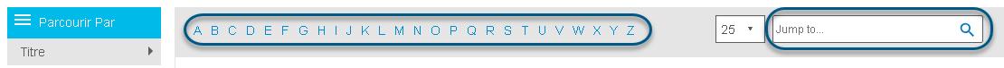 Capture d'écran montrant la barre alphabétique et le champ Passer à dans l'écran Parcourir de PsycBOOKS