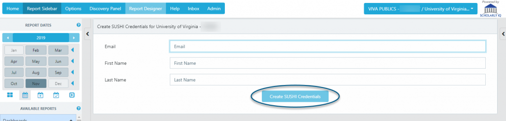 Screenshot showing the location of the Create SUSHI Credentials button